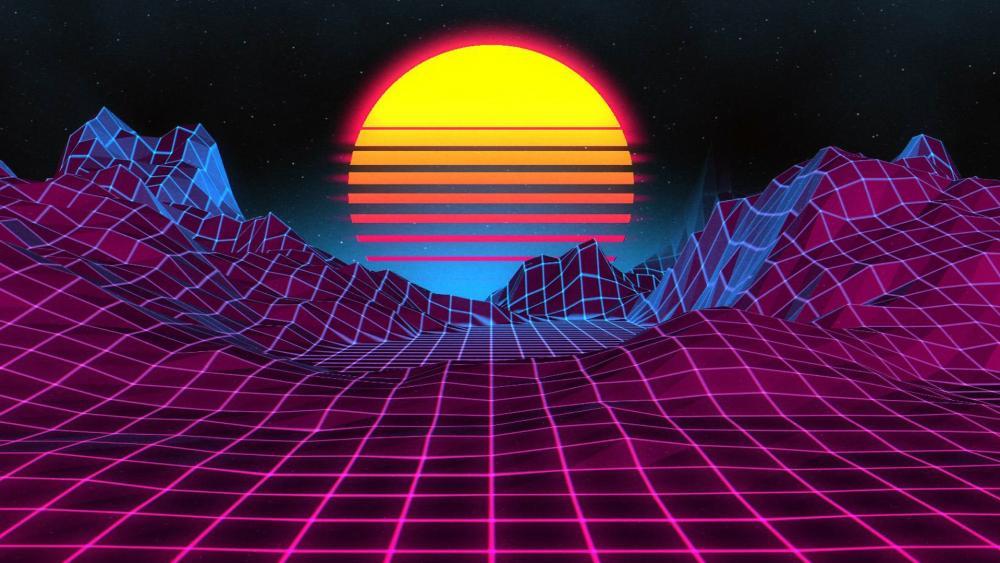 Digital Landscape At Sunset wallpaper