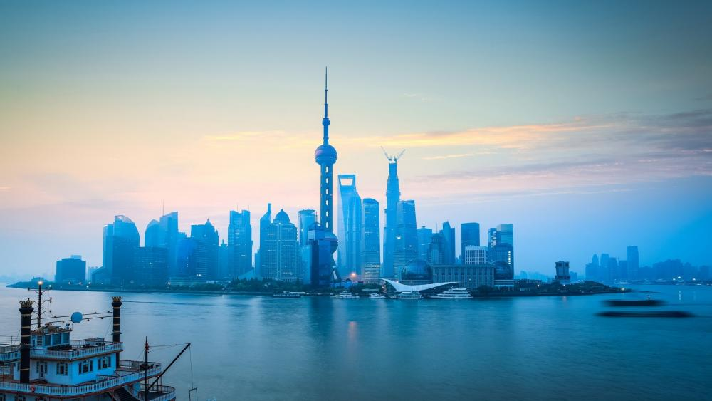 Bluish Pudong skyline wallpaper