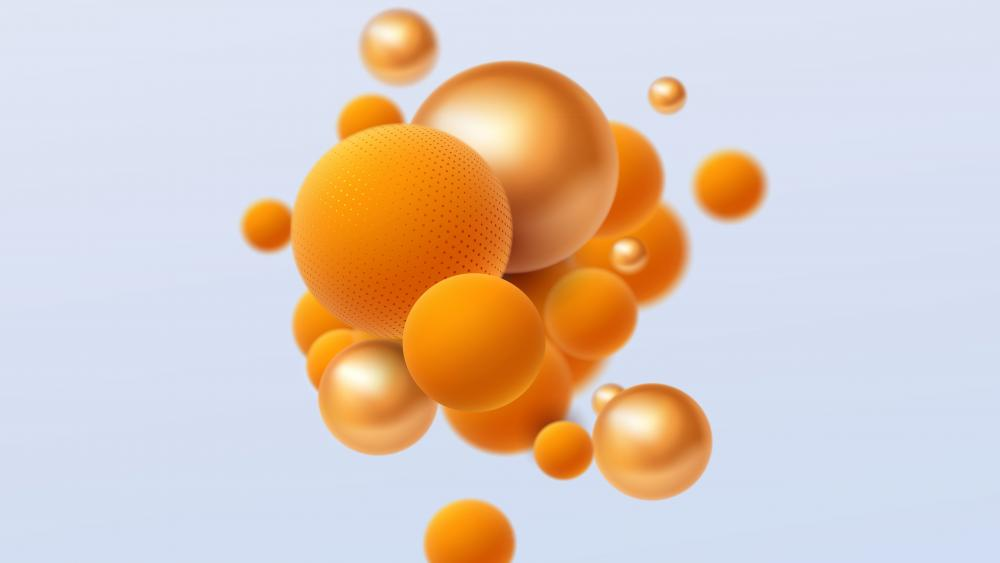 3d orange pearls wallpaper
