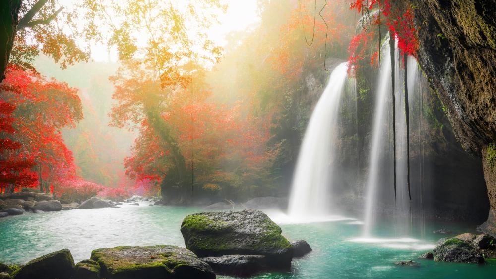 Waterfall at fall wallpaper