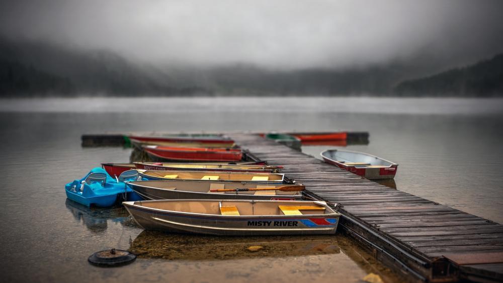 Boats tilt-shift photography wallpaper
