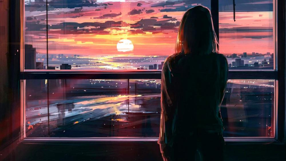 Girl Looks At The Sunset From The Window wallpaper