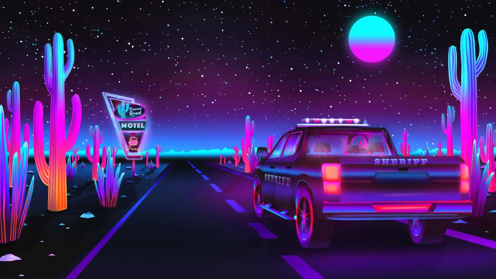 Sheriff Car Neon digital art wallpaper
