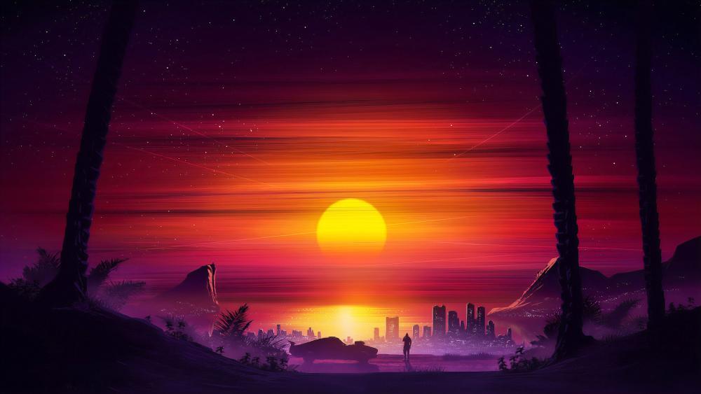 Sunset In Fantasy Cityscape wallpaper