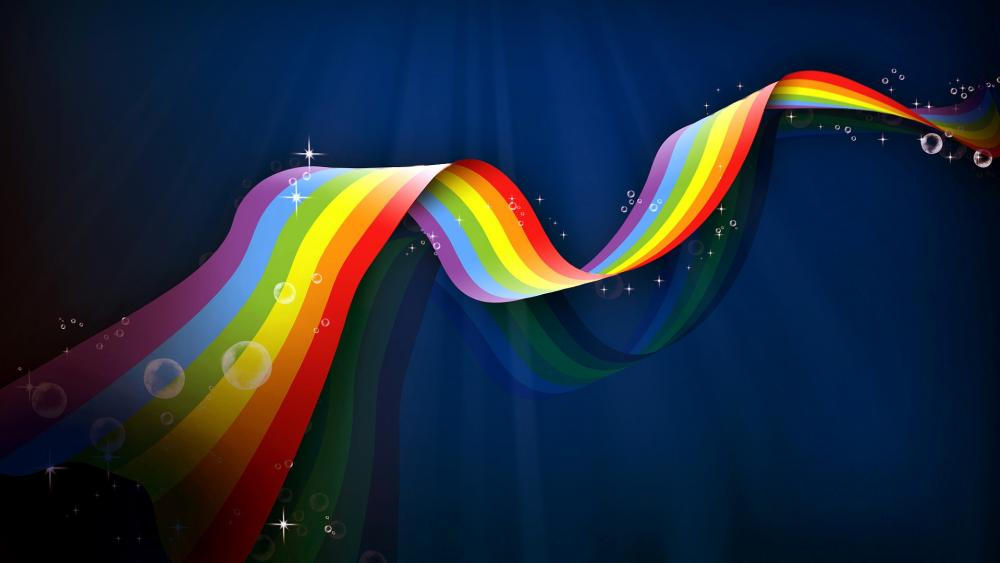 Rainbow colored ribbon on blue background wallpaper