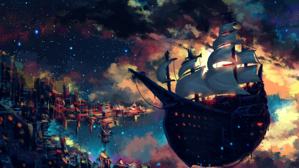 Floating skyship wallpaper