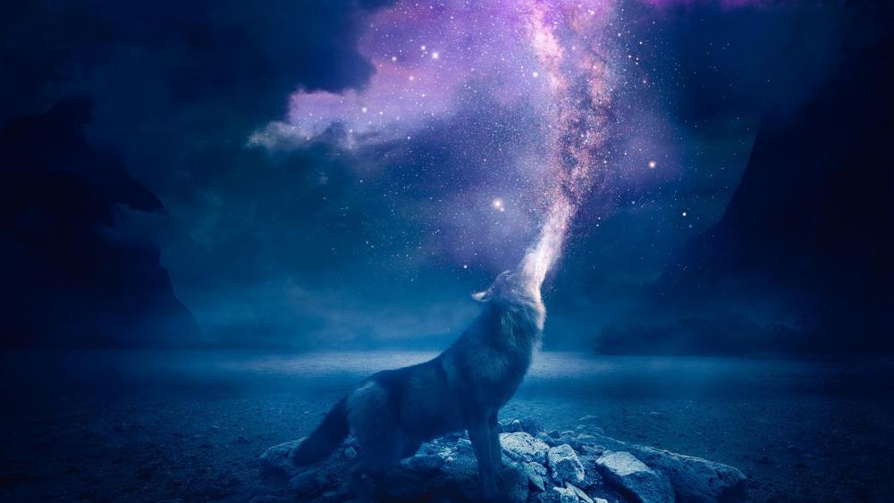 Wolf howling stars wallpaper