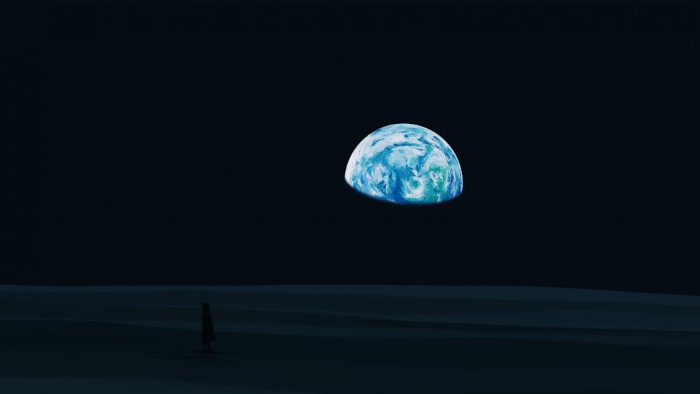 Earth on the night sky wallpaper