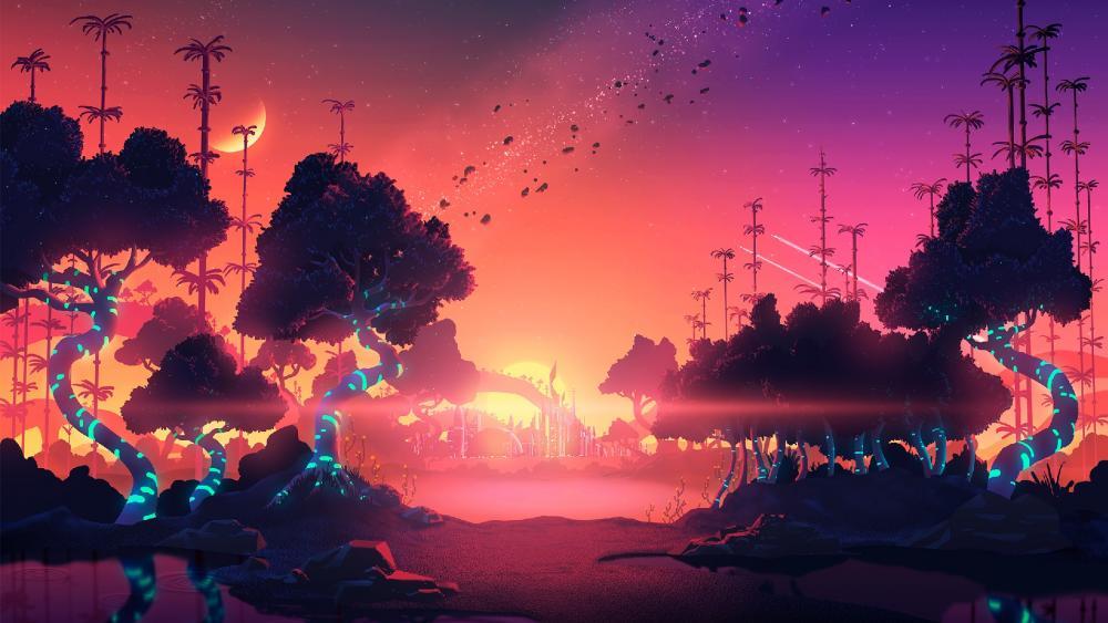 Pink digital landscape - Trillectro music festival wallpaper