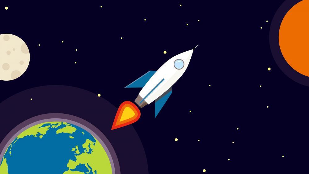 Traveling In Space Minimal art wallpaper