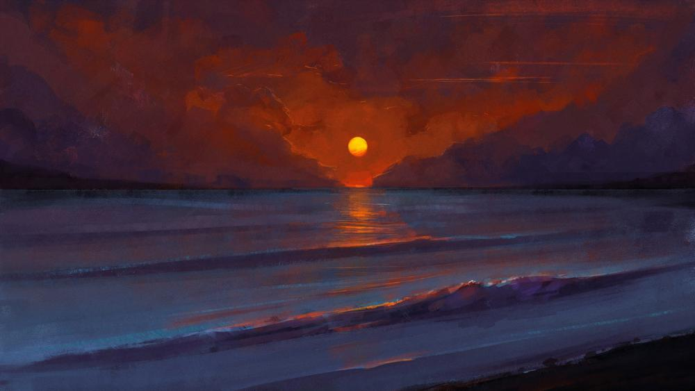 Sunset on the beach digital painting wallpaper