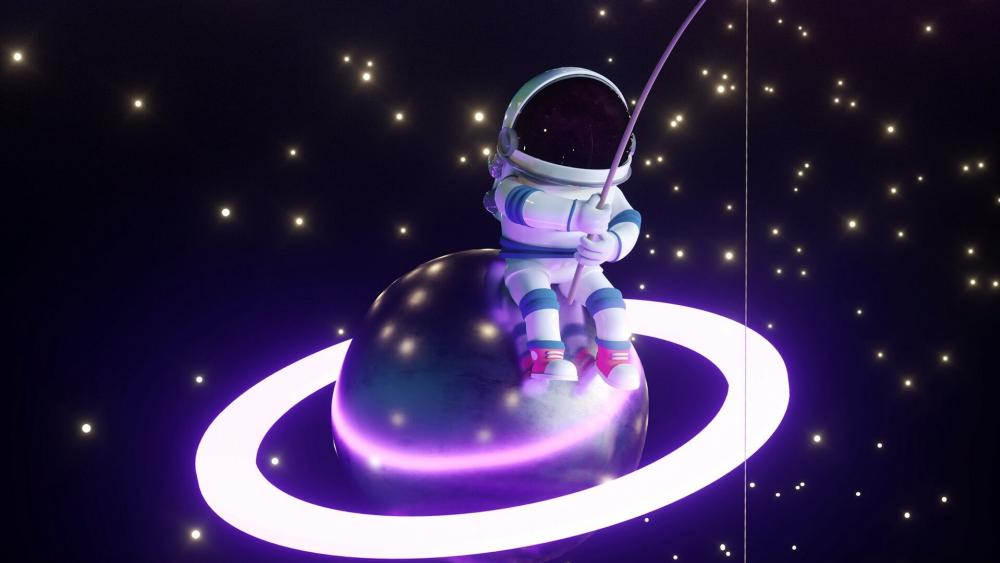Astronaut Fisherman wallpaper