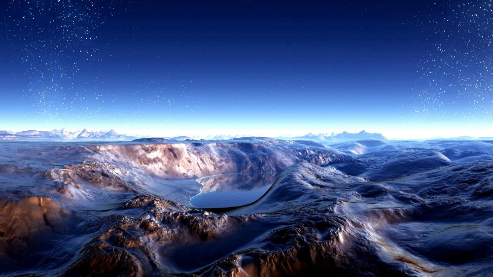 Fantasy digital landscape wallpaper