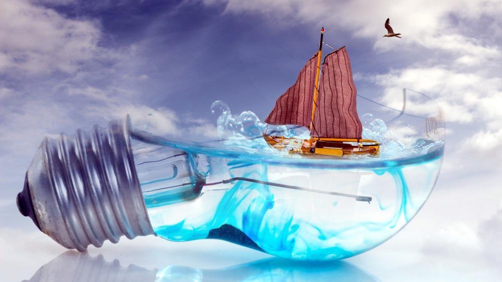 Sailboat on a Lightbulb Digital Art wallpaper