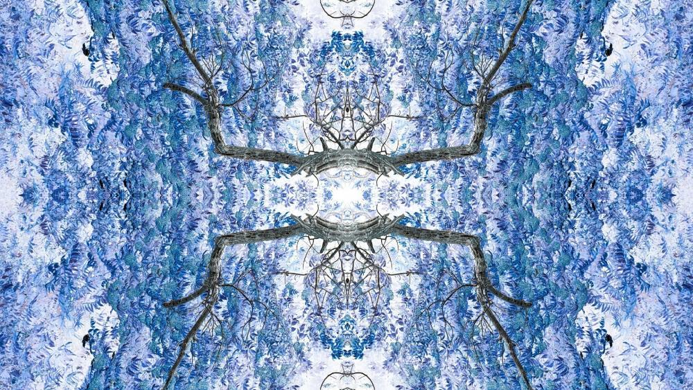 Kaleidoscope effect blue tree wallpaper