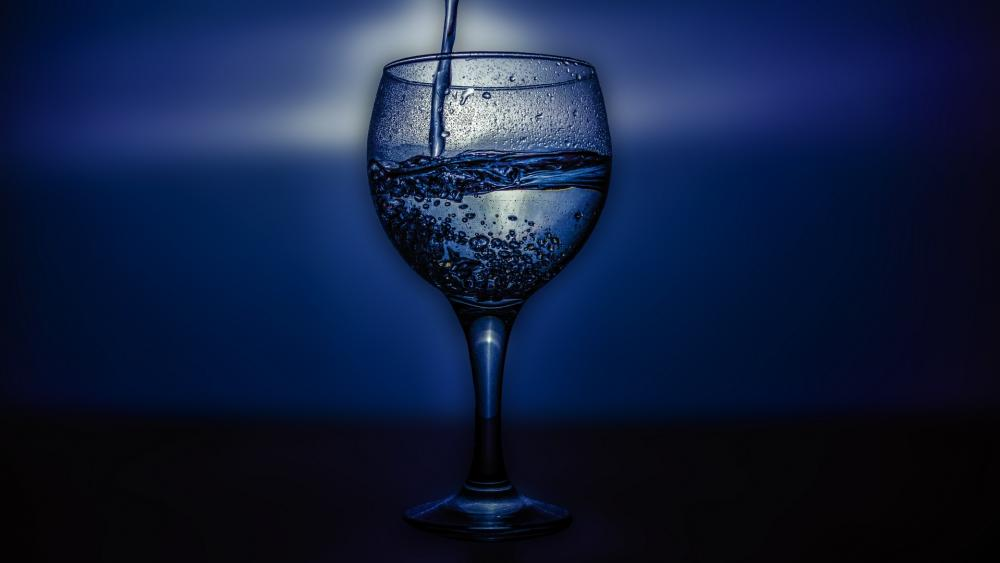 Clear water in glass wallpaper