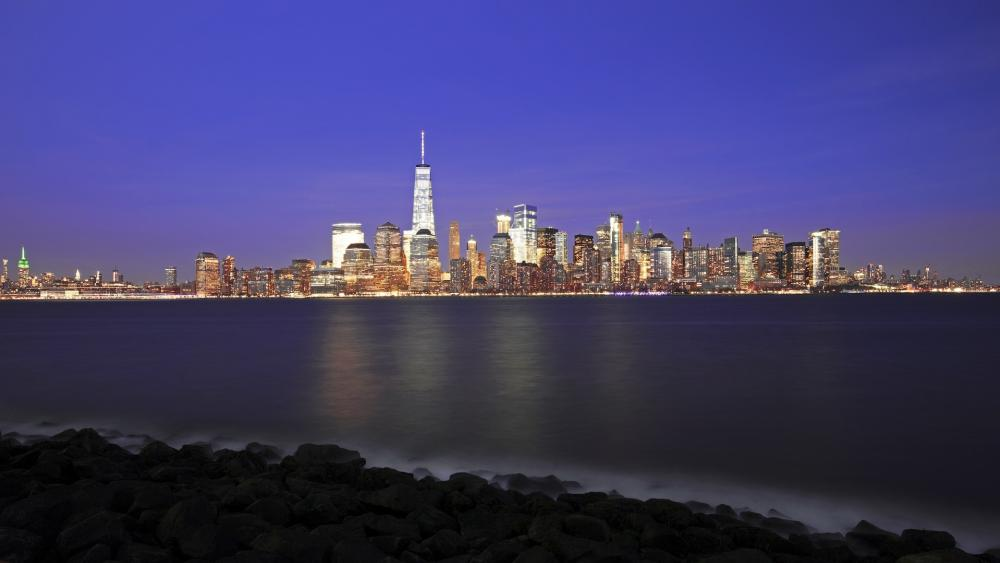 New York City from Liberty State Park by night wallpaper