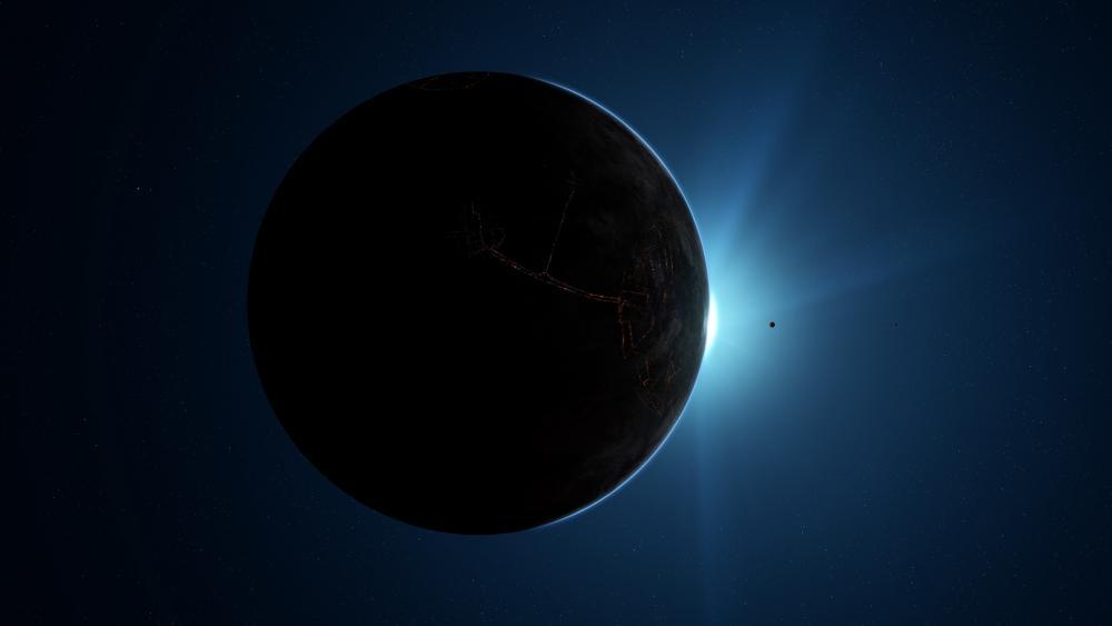 Earthlike planet sunrise wallpaper