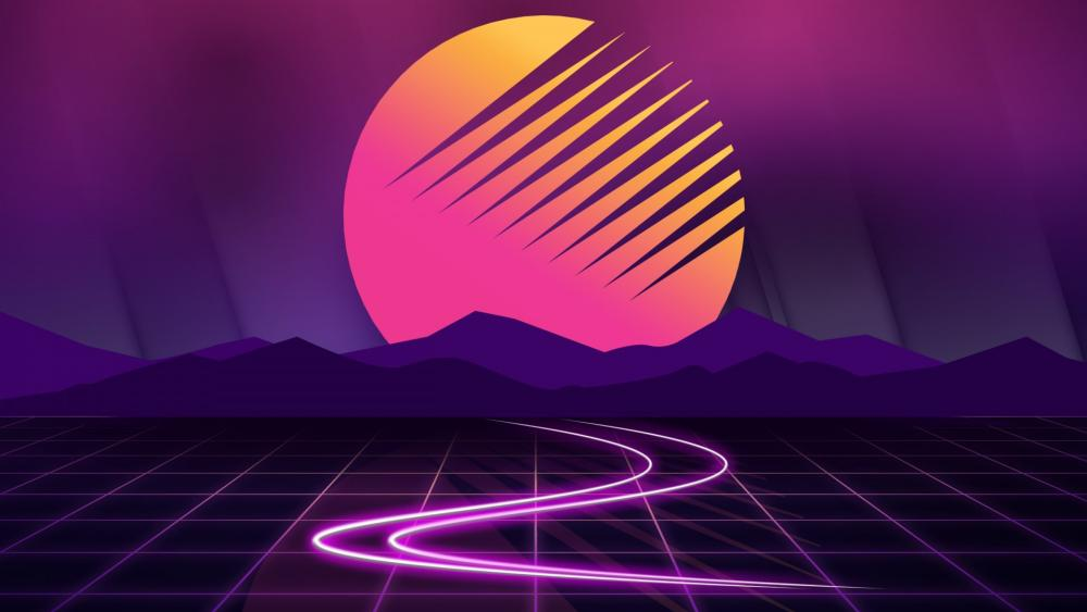Digital retrowave sunset wallpaper