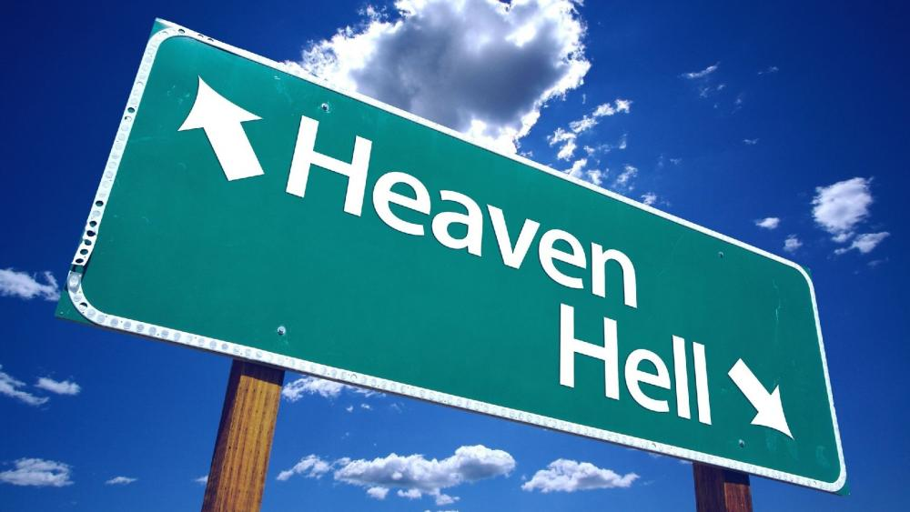 Heven and hell traffic sign wallpaper