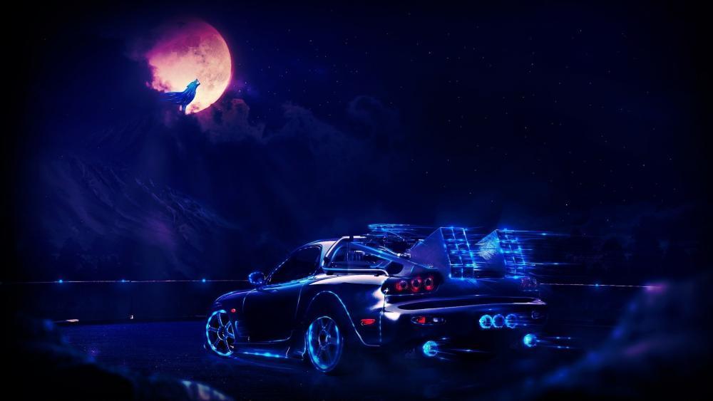 Blue neon car wallpaper