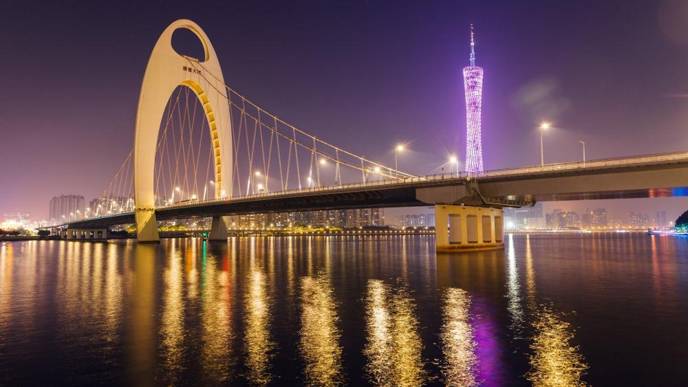The Liede Bridge and the Canton tower wallpaper