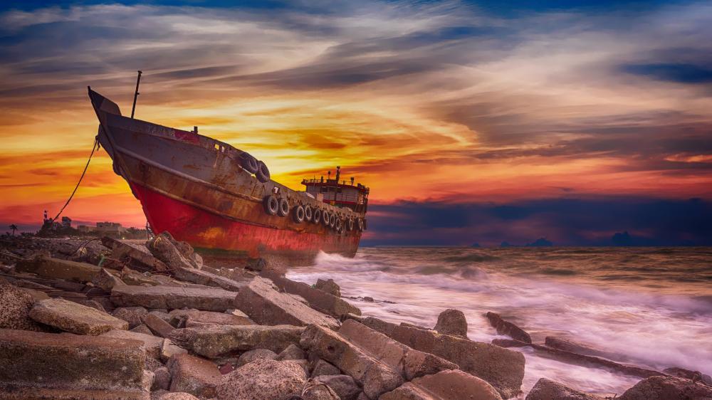 Abandoned shipwreck wallpaper