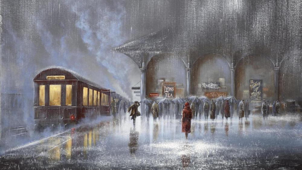 Sudden rainstorm at the train station painting art wallpaper