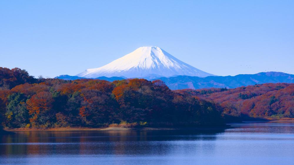 Mount Fuji and Lake Tanuki at fall wallpaper