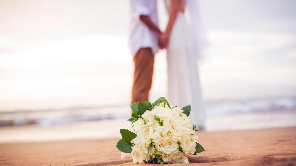 Wedding on the beach wallpaper