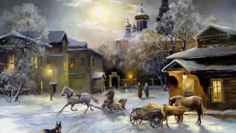 Vintage winter town wallpaper