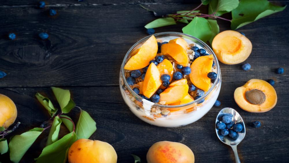 With blueberry and apricot yogurt wallpaper