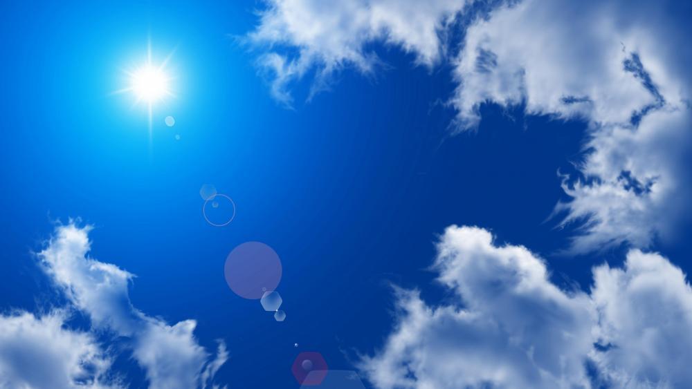 Summer sunshine on the blue sky wallpaper
