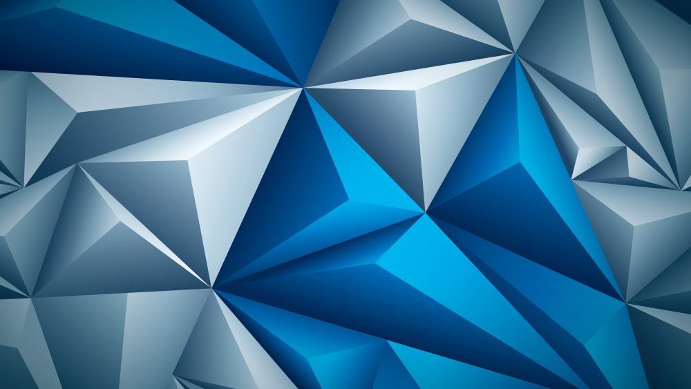 3D blue triangles wallpaper