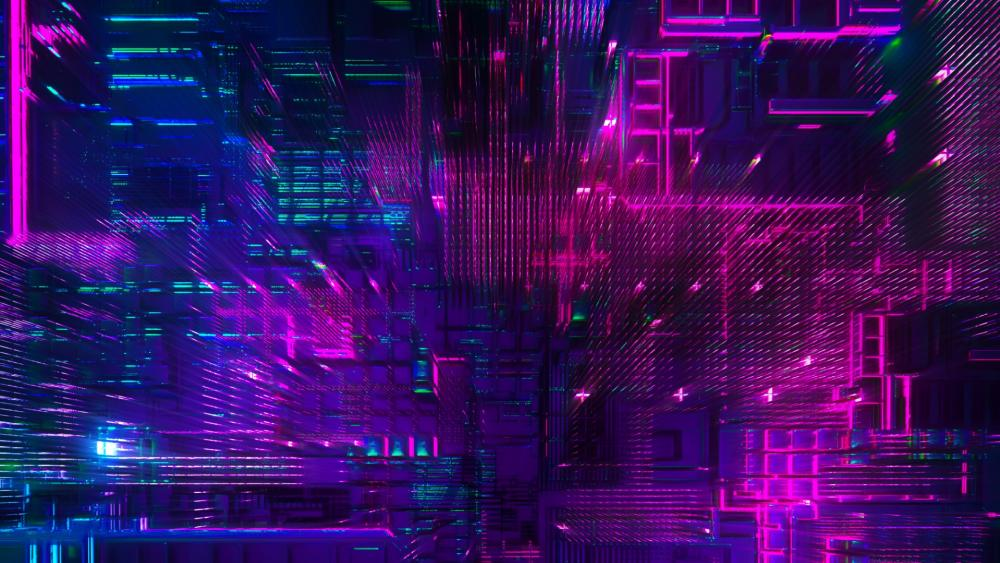 3D neon abstract digital art wallpaper