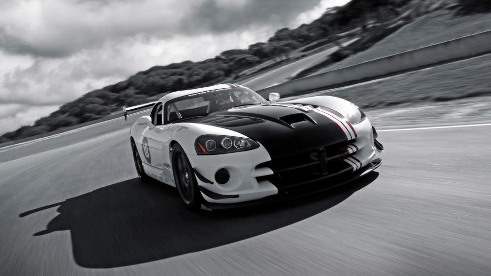 Dodge Viper ACR X White colour with black stripes wallpaper