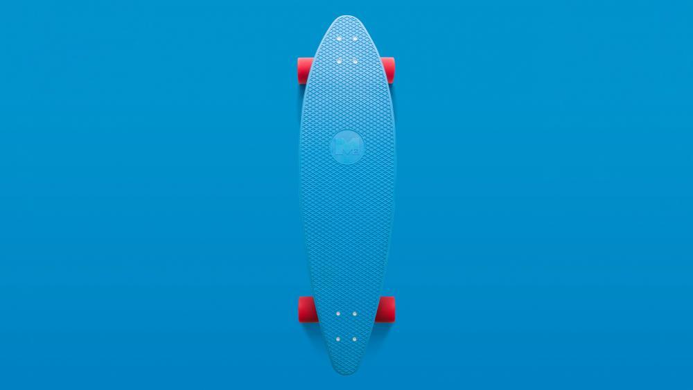 Blue skateboard minimal art wallpaper