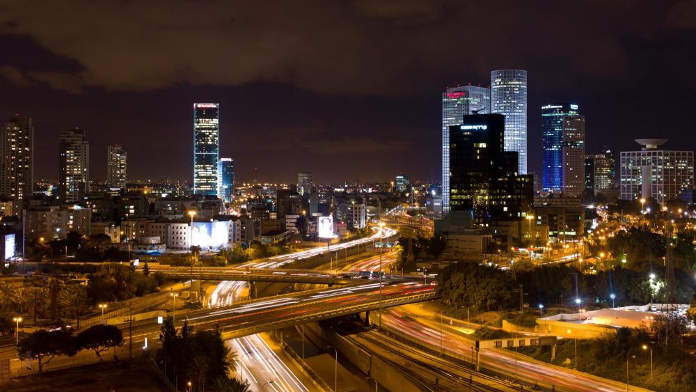 Tel Aviv at Night wallpaper