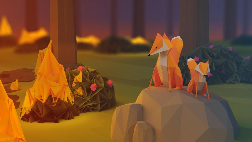 Low-poly foxes wallpaper