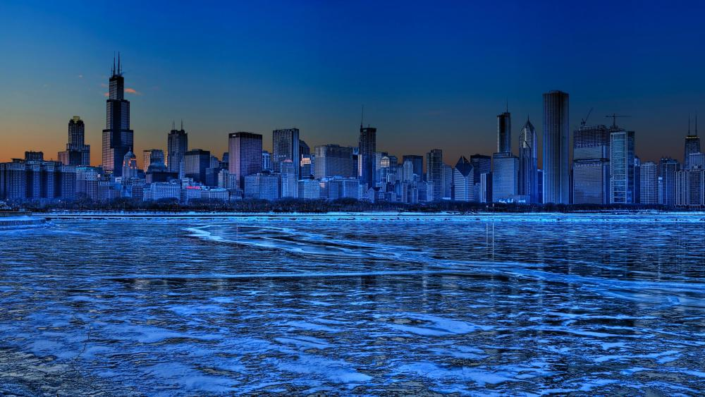 Chicago skyline in the blue hour wallpaper