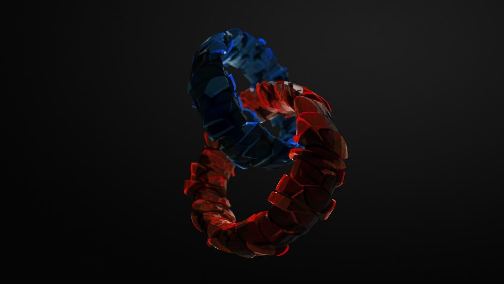 3D red and blue rings wallpaper