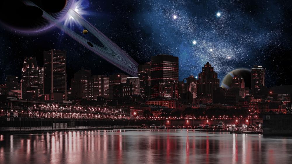 Sci-fi city by night wallpaper