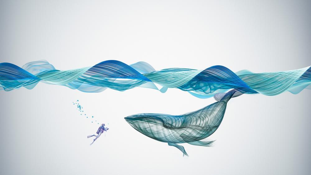 Blue whale underwater art wallpaper