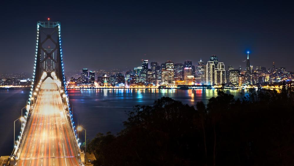 San Francisco – Oakland Bay Bridge by night wallpaper