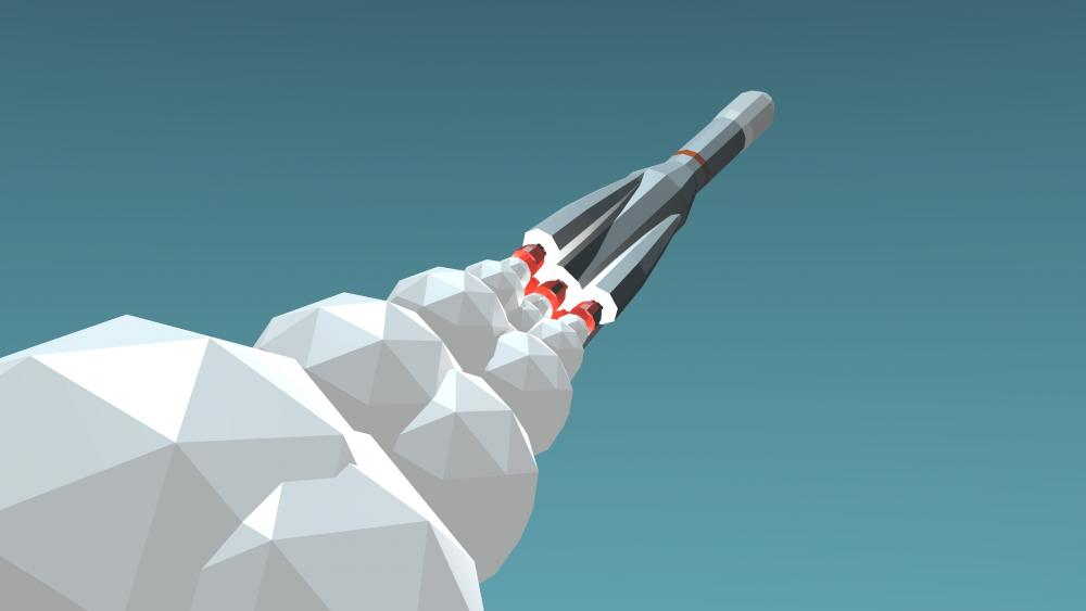 Rocket launch Low poly minimal art wallpaper