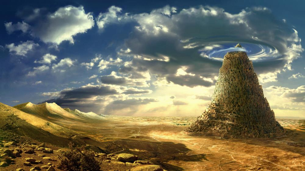 The mythological Babel Tower fantasy art wallpaper