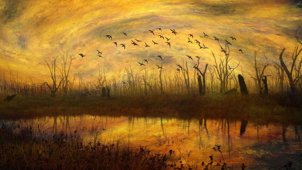 Autumn scenery painting art wallpaper