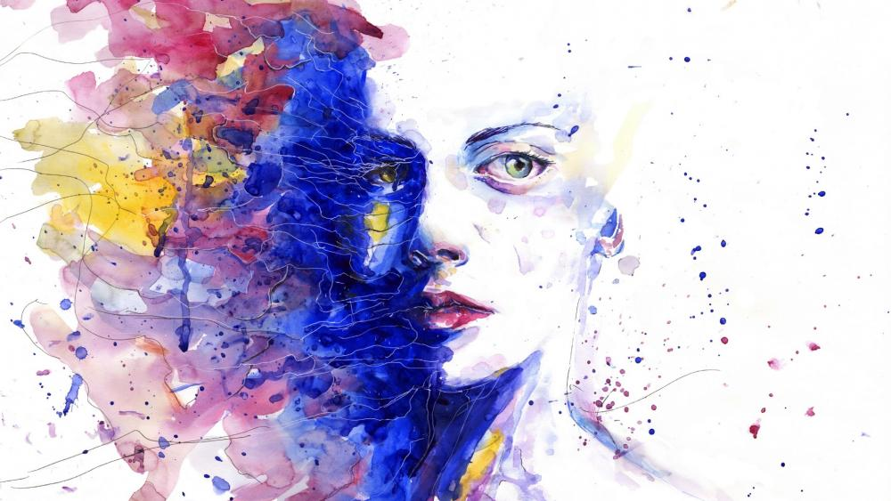 Abstract woman face painting wallpaper