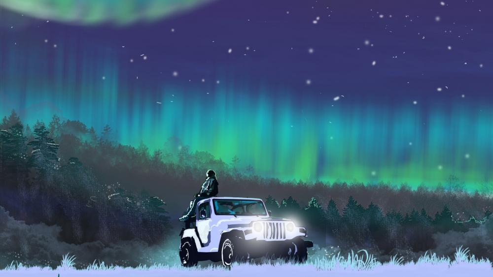 Polar lights fantasy art wallpaper