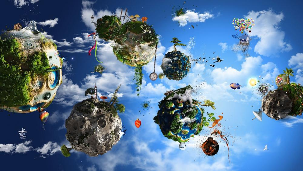 Floating mini planets wallpaper